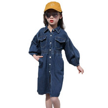 Korean Style Full Sleeve Denim Dress for Girls Spring Autumn Jeans Long Pattern Clothing Teenagers Tops 4-13T