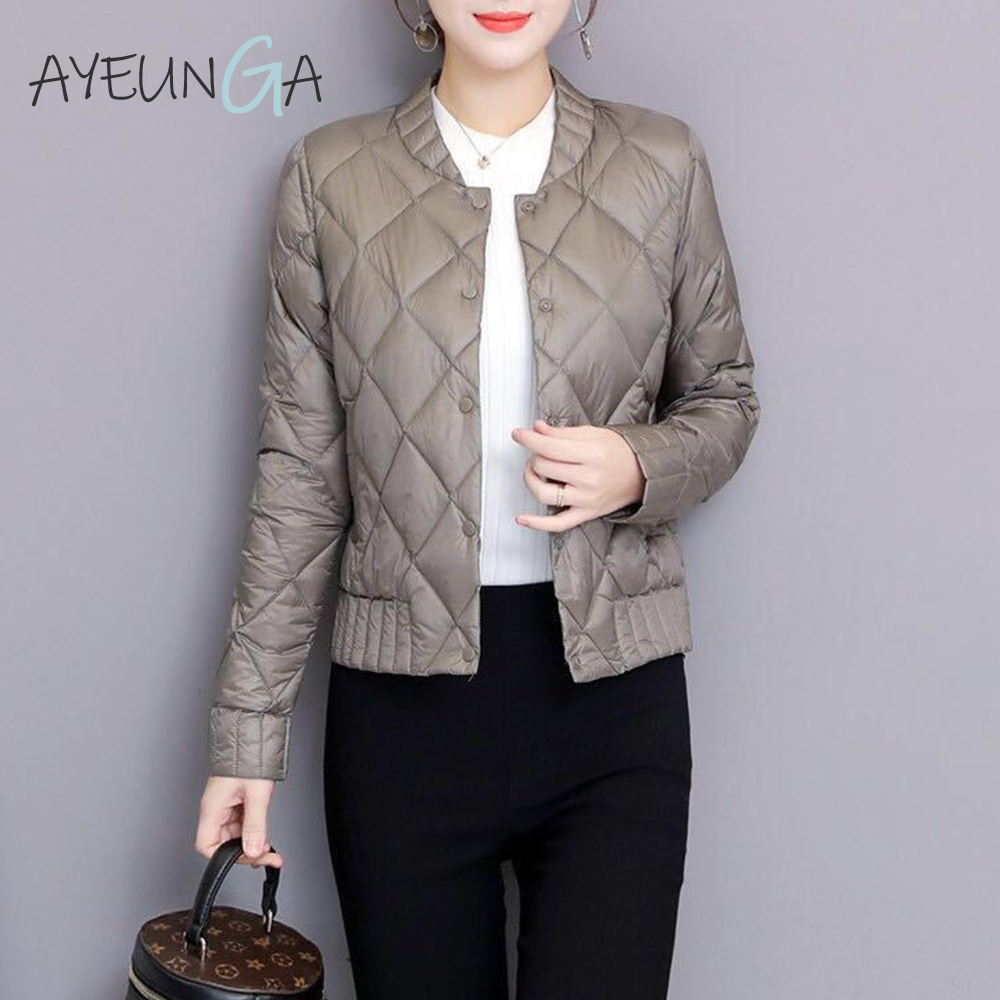 Ultra Light White Duck Down Jackets Autumn Winter Women Plus Size 3XL Buttons Outwears Long Sleeve Slim Short Warm Down Coats