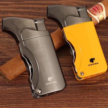 COHIBA Lighters Metal Windproof Butane Gas Lighter Refillable Torch Jet Flame Cigarette Cigar Lighter Built-in Cigar Punch недорого