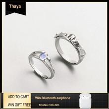 Thaya טבעי כחול אור מונסטון טבעות רומנטיים אוהבי טבעת 100% s925 כסף שריון להקות לנשים בציר אלגנטי תכשיטים