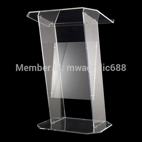 Free Shipping Transparent Modern Design Simple Firm Cheap Clear Acrylic Lectern Podium Plexiglass