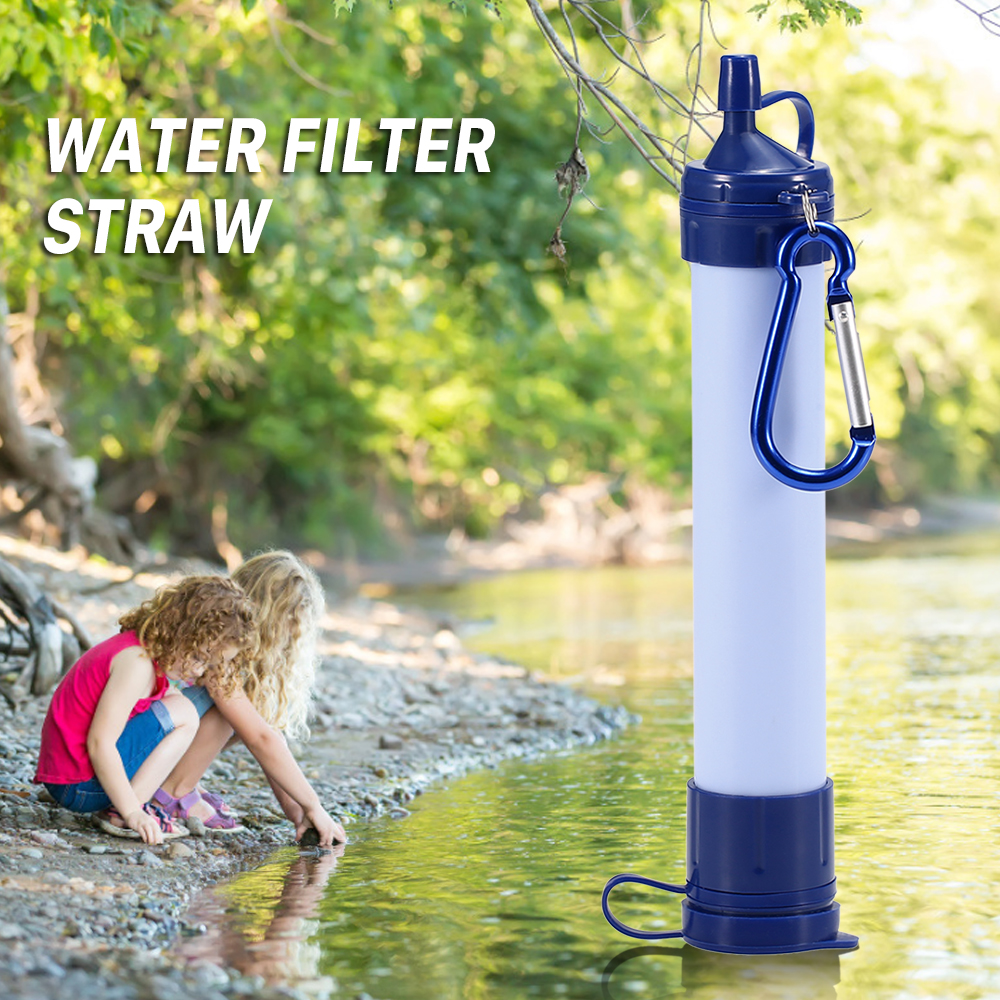 Water Filter Straw and Cleaning Kit Water Filtration System for Outdoor Survival Emergency Camping Hiking Traveling