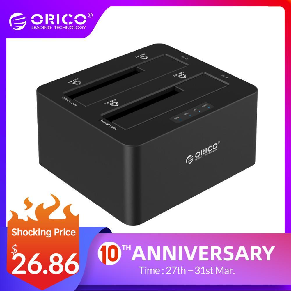 ORICO USB 3,0 A SATA, Carcasa De Disco Duro, Doble Bahía, Estación De Acoplamiento Externo HDD Para 2,5, 3,5 HDD/SSD, Función Duplicadora Clon