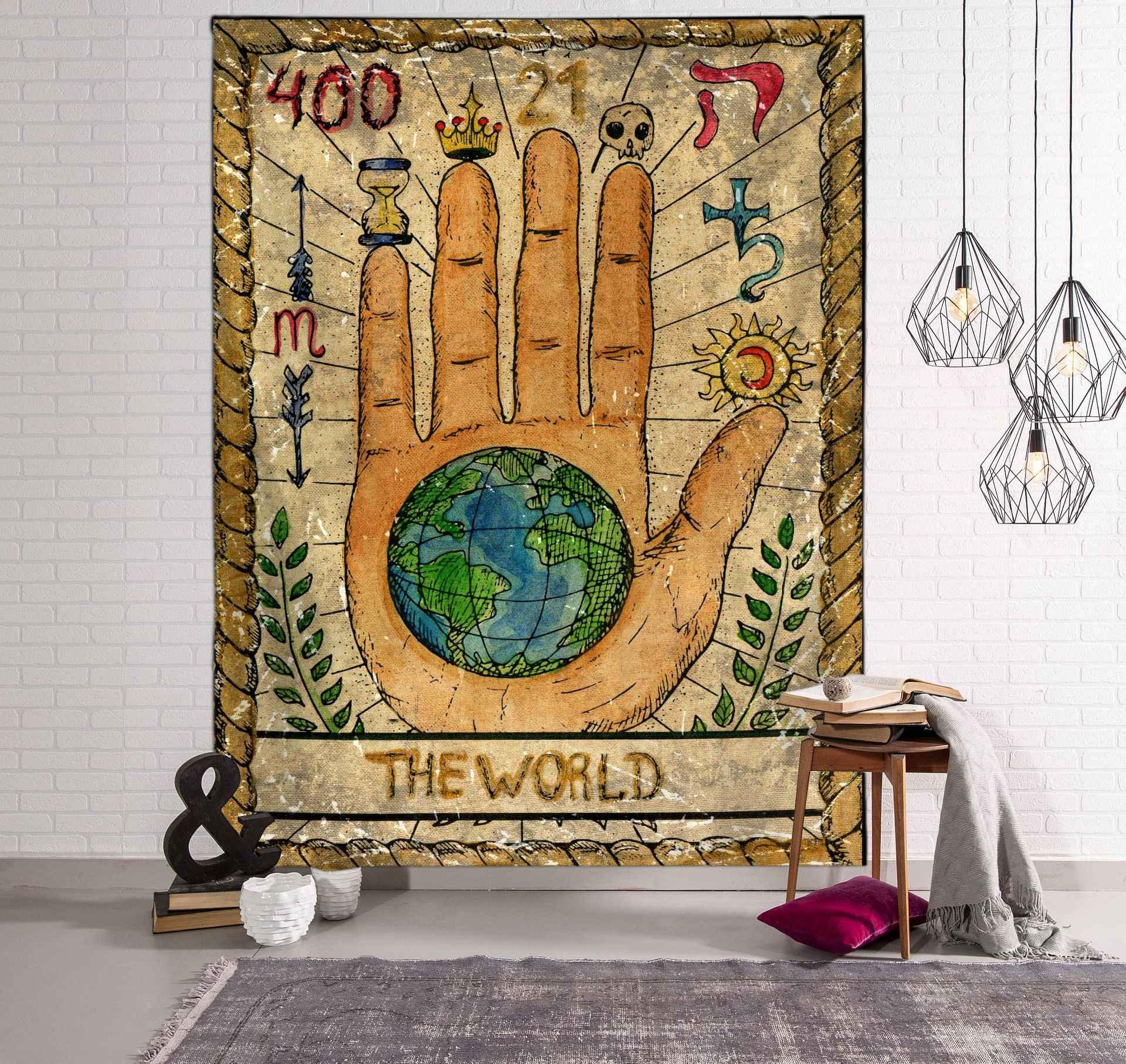 Tarot Mặt Trời Và Mặt Trăng Hoa Văn Chăn Tarot Ấn Độ Mạn Đà La Thảm Treo Tường Bohemia Giang Hồ Nhà Phòng Ngủ Trang Trí Ném