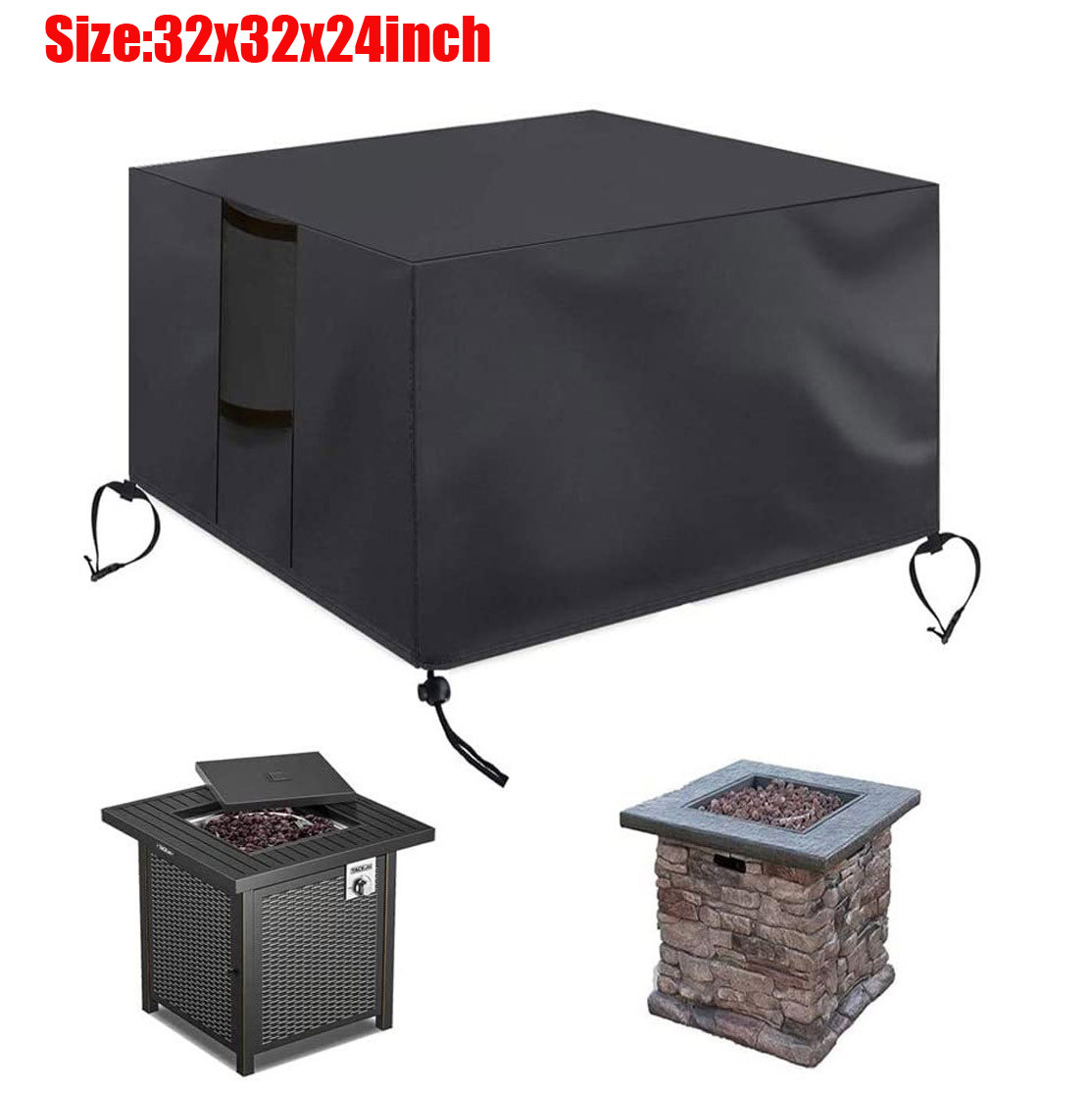 Gas Fire Cover Square - 32x32x24 Inch Waterproof Anti-uv Heavy Duty For Patio