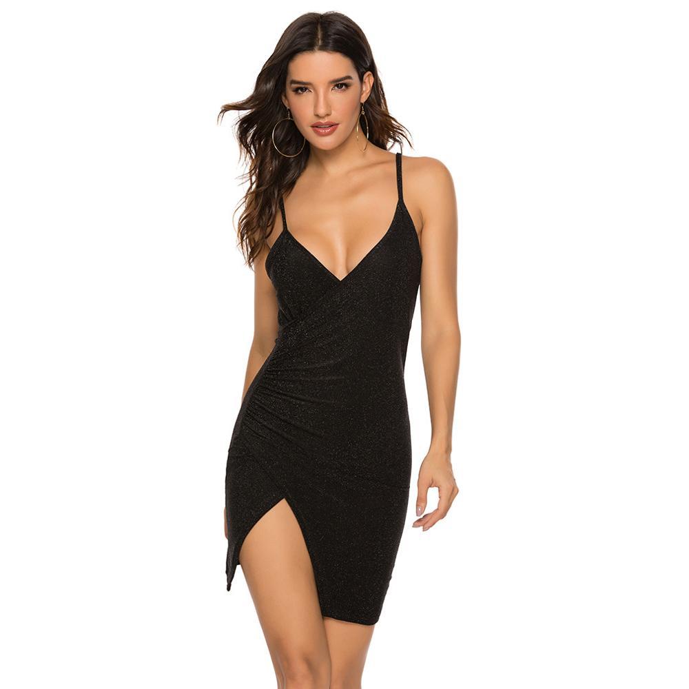 New Sexy Sling Dress Sleeveless Deep V Neck Strappy Backless Split Tight Hip Party Dresses