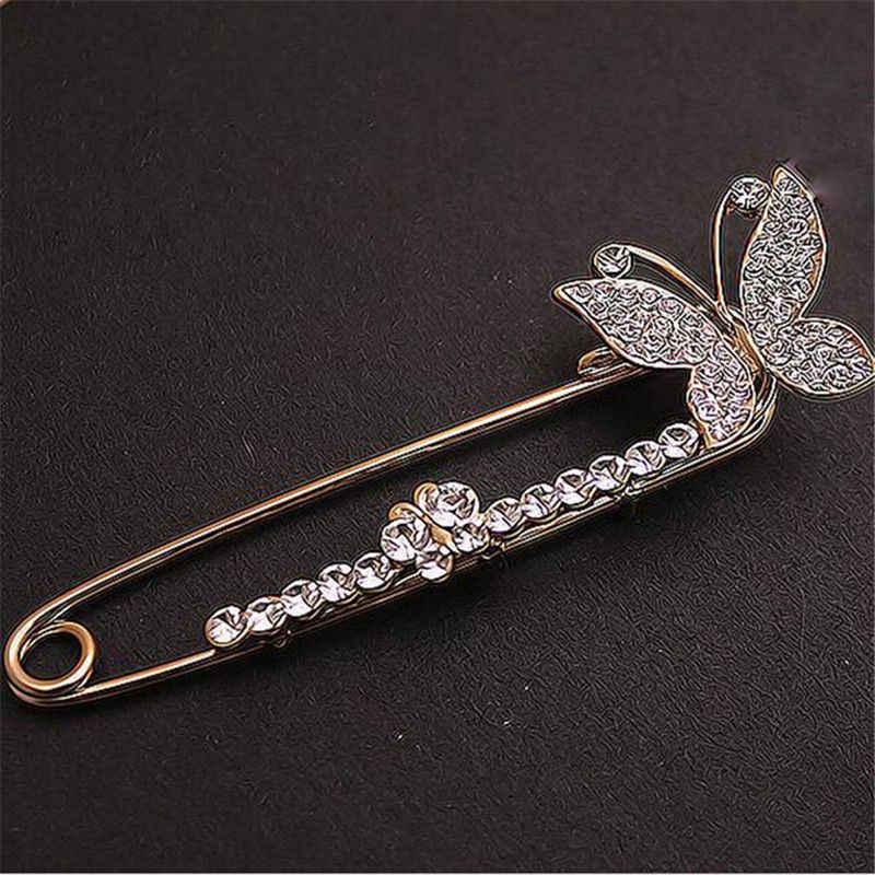 1PC Perak Warna Emas Kupu-kupu Bros Wanita Fashion Wanita Perhiasan Kristal Bros Hot Sale