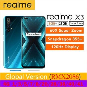 Перейти на Алиэкспресс и купить Глобальная версия realme X3 смартфон 8 Гб 128 ГБ UFS 3,0 30 Вт Зарядное устройство 60X Super Zoom Snapdragon 855 + 120 Гц дисплей 64-мегапиксельная четырехъядерная кам...