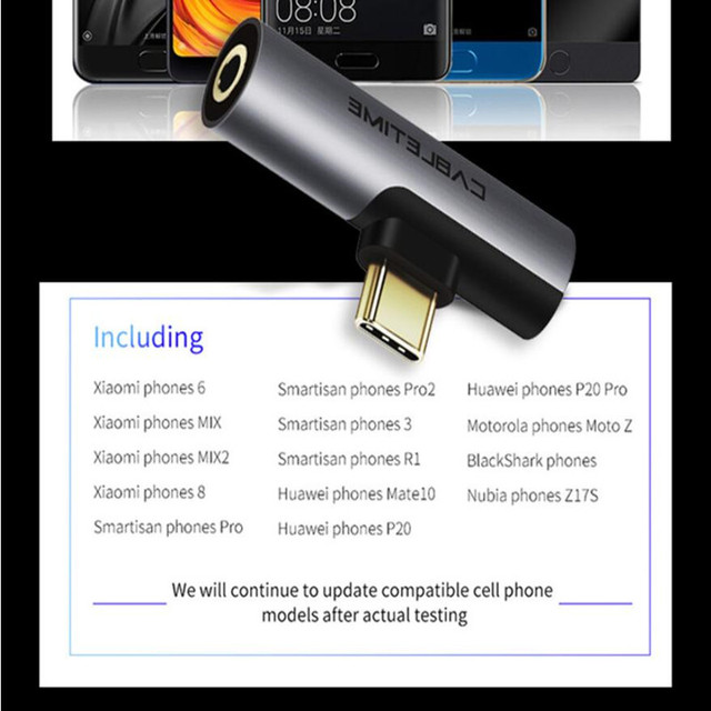 CABLETIME USB Type C to Audio 3.5mm Jack Earphone Headphone Analog signal For Xiao mi Huawei Samsung Type-C OTG USB-C OTG C018 5