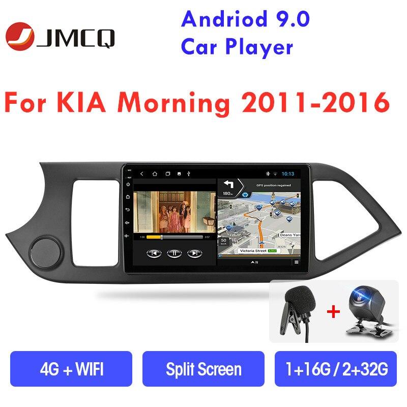 Jmcq android 9.0 rádio do carro reprodutor multimídia para kia picanto manhã 2011-2016 gps navigaion 2 din flutuante janela rachada tela