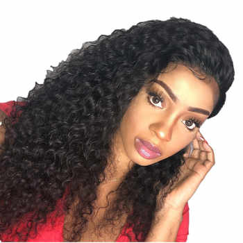 13x4 Kinky Curly Lace Front Wigs With Baby Hair Malaysian Plucked Lace Front Human Hair Wigs Non Remy 150% Halo Lady Beauty