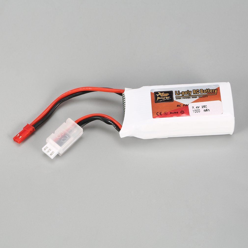 ZOP Power 7.4V <font><b>1000mAh</b></font> 25C <font><b>2S</b></font> 2S1P <font><b>Lipo</b></font> Battery JST Plug Rechargeable For RC Racing Drone Helicopter Multicopter Car Model image