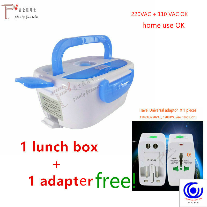 220&110VAC/12VDC Cute 4 Buckles Cooking PTC Electric Heating Lunch Box Set Portable Food-Grade Container Warmer Food Thermal