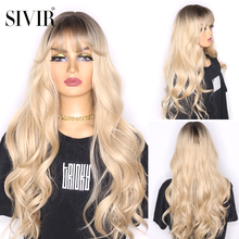 Synthetic Wigs Bangs Cosplay Brown Natural-Wave Sivir Black Ombre Women Heat-Resistant
