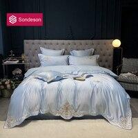 Sondeson Noble 100% Silk Blue Elegant Bedding Set Silky Healthy European Embroidery Duvet Cover Queen King Flat Sheet Pillowcase