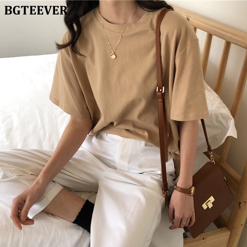 BGTEEVER Summer Solid Loose Women T-shirt Casual Short Sleeve Cotton Women White Tees Round-neck Female Tops 2020 Spring