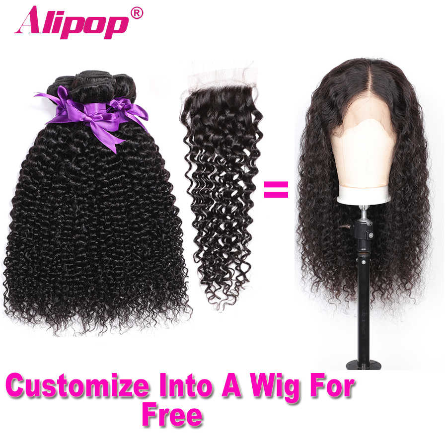 Malaysian Curly Hair With Closure 3 Bundles Remy Human Hair Bundles With Closure Can Customize Into A Curly wig For Free ALIPOP