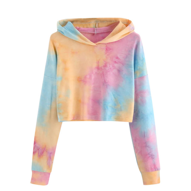 Women Sweatshirt Sexy Cropped Hoodie Tie Dyeing Patchwork Tops Autumn Women Friend Hoodies Long Sleeve Crop Tops sudadera mujer