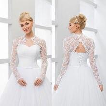 GOHYPDUG New Long Sleeve V Backless Bridal Wedding Lace Jacket Bolero Shawl Wraps White Ivory Custom Size Jackets S M L XL XXL