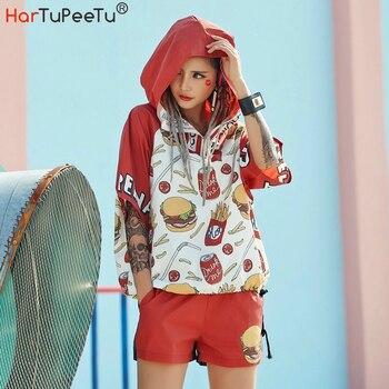 цена на Sport Hoodie Oversize 3 Styles Women Harajuku Summer Thin Hooded Sweatshirts Zipper Funny Cartoon Print Drawstring Hem Tops