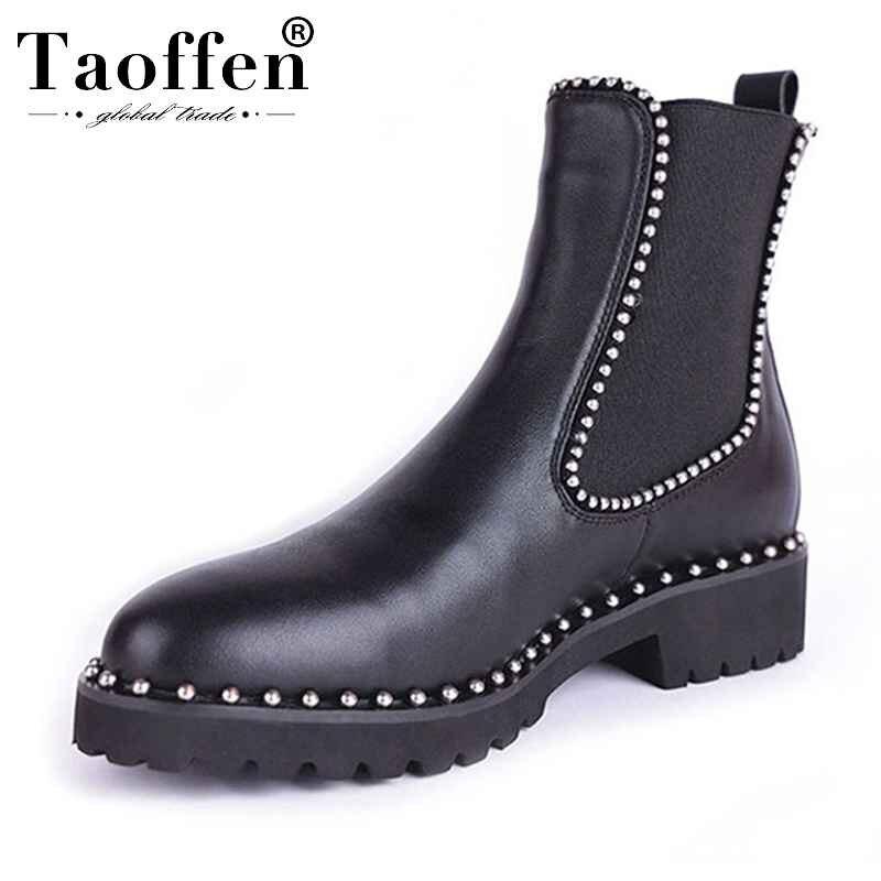 Taoffen/ботильоны в британском стиле; женская обувь на плоской подошве из натуральной кожи с эластичными лентами; женская обувь с заклепками и круглым носком; размер 33 43-in Полусапожки from Обувь