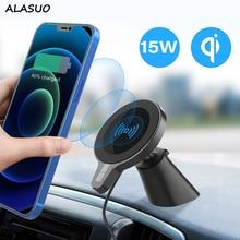 15W Qi 무선충전기 충전기 자석거치대 아이폰 12 자동차 공기 콘센트에 대 한 자기 전화 홀더 맥세이프 차량용 충전기 송풍구 거치대 아이폰 12