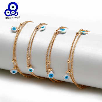 Lucky Eye Water Drop Star Heart Charm Anklet Multi Layer Gold Color Foot Chain Evil Eye Ankle Bracelet for Women Jewelry BD78 1