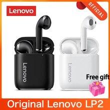 Lenovo lp2 Wireless bluetooth 5.0 fones de ouvido estéreo baixo controle toque esportes sem fio à prova dheadset água fone com microfone