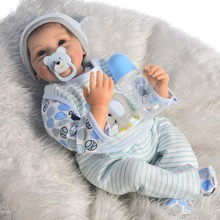NPK silicone reborn baby dolls 22″55cm lifelike new born alive baby boy bebe doll reborn for child gift bonecas