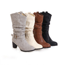 купить 2019 New Fashion Cow Boy Mid-Calf Boots Women Flock Autumn/Winter Boots Size 34-43 дешево