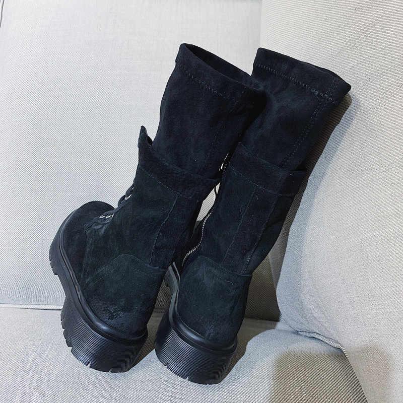 2019 kış yeni ayak bileği motosiklet botları kadın İngiliz tarzı siyah kadın çorap bot ayakkabı Punk batı çizme bayan kız ayakkabı