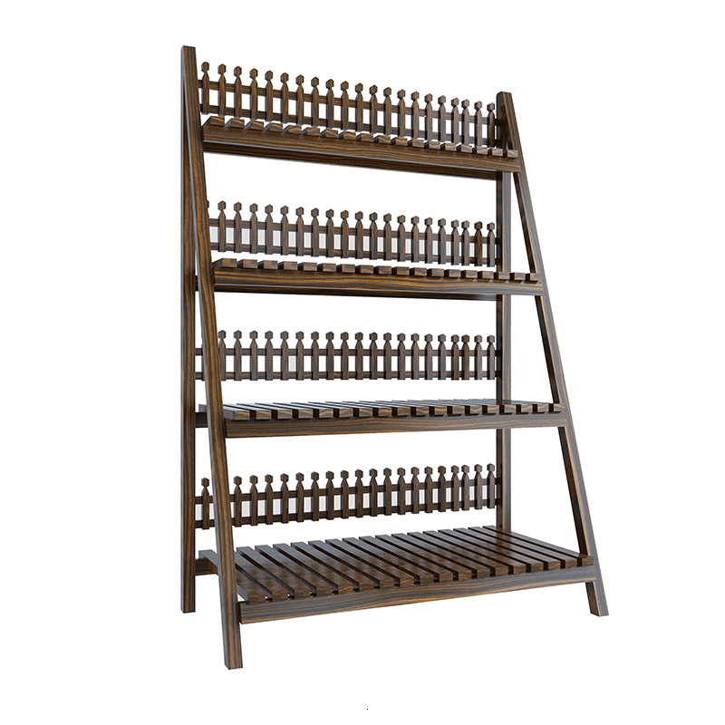 Woodiness Rack Anticorrosive Wood Foldable Meaty Flower Rack Storage Shelves Countryside Flowerpot Frame
