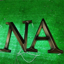 Outdoor 3D backlit bronze color letters for shop logo signs, antique copper color halo lit LED store signage
