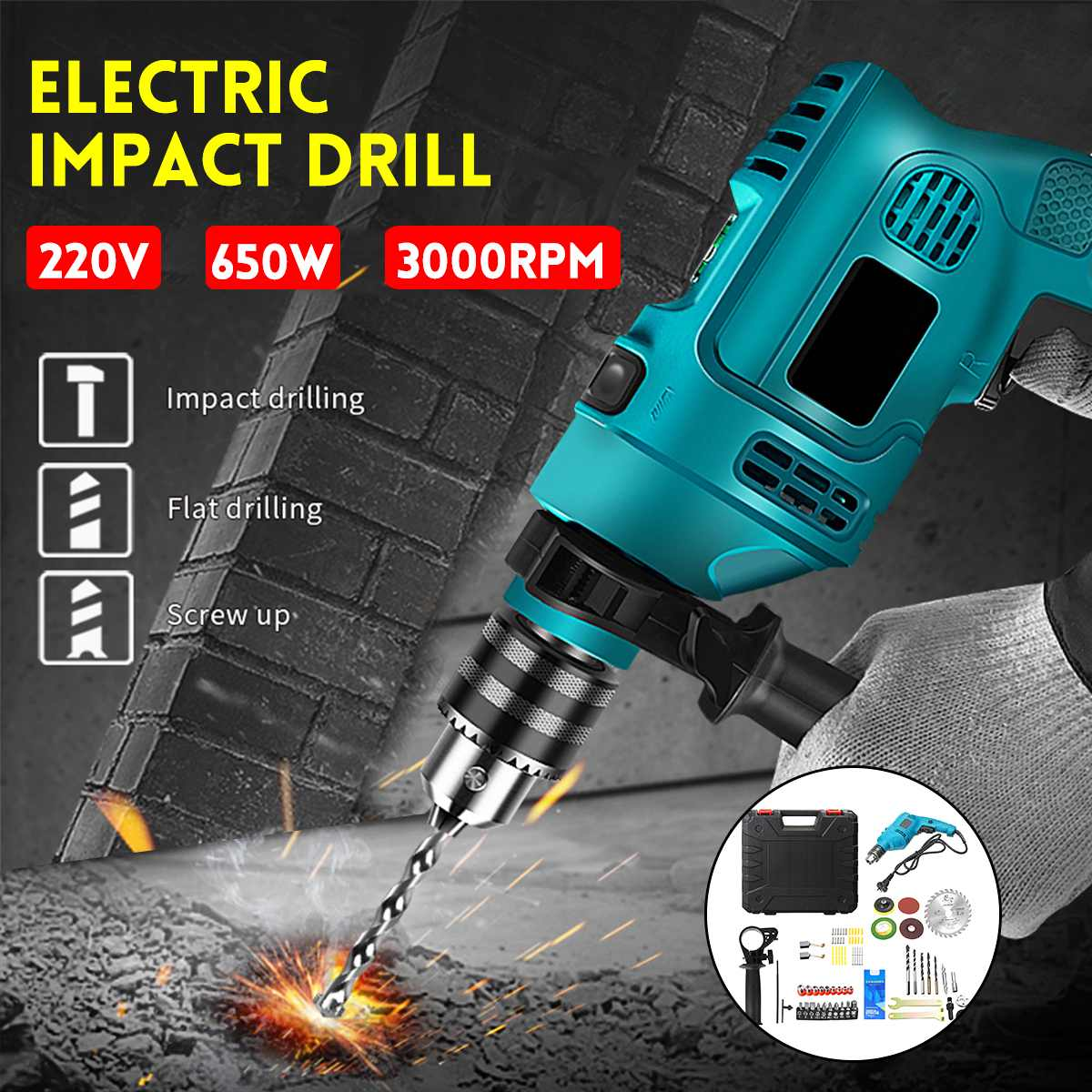 Electric Brushless Impact Drill 13MM Electric Rotary Hammer Handheld Impact Flat Drill Guns Torque Screwdriver Power Tools Set
