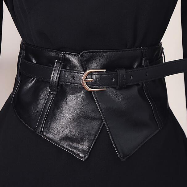 Women's Runway Fashion Elastic Pu Leather Cummerbunds Female Dress Coat Corsets Waistband Belts Decoration Wide Belt R2198