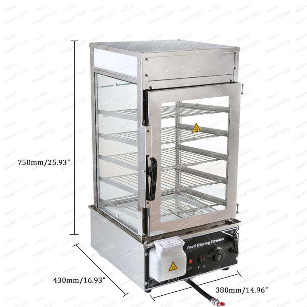 Stainless Steel Electric Bun Steamer Machine 5 Layer Food Warmer Display With Automatic Temperature Control 220V 110V