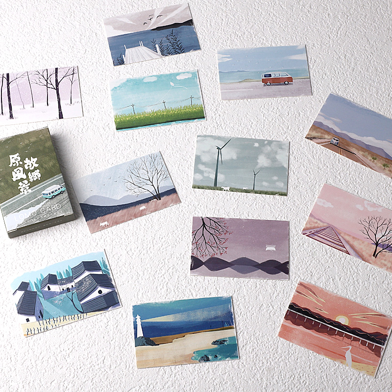 28 Sheets/Set Beautiful Hometown Scenery Lomo Card Mini Paper Postcard Message Card Christmas Gifts