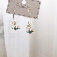 Boucles d'oreilles baleine en métal, petites, mignonnes, Design Original, mode coréenne, bijoux d'oreille de personnalité sauvage