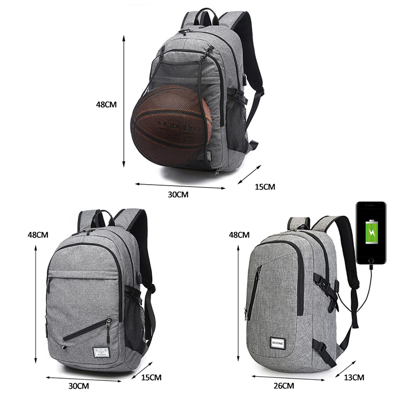 US Waterproof Basketball Backpack USB Laptop Bag Schoolbag Canvas Sport Ball Net