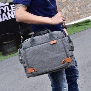 Image 2 - Multi function canvas men bag Fashion shoulder bag for men Business casual crossbody messenger bag briefcase travel bags