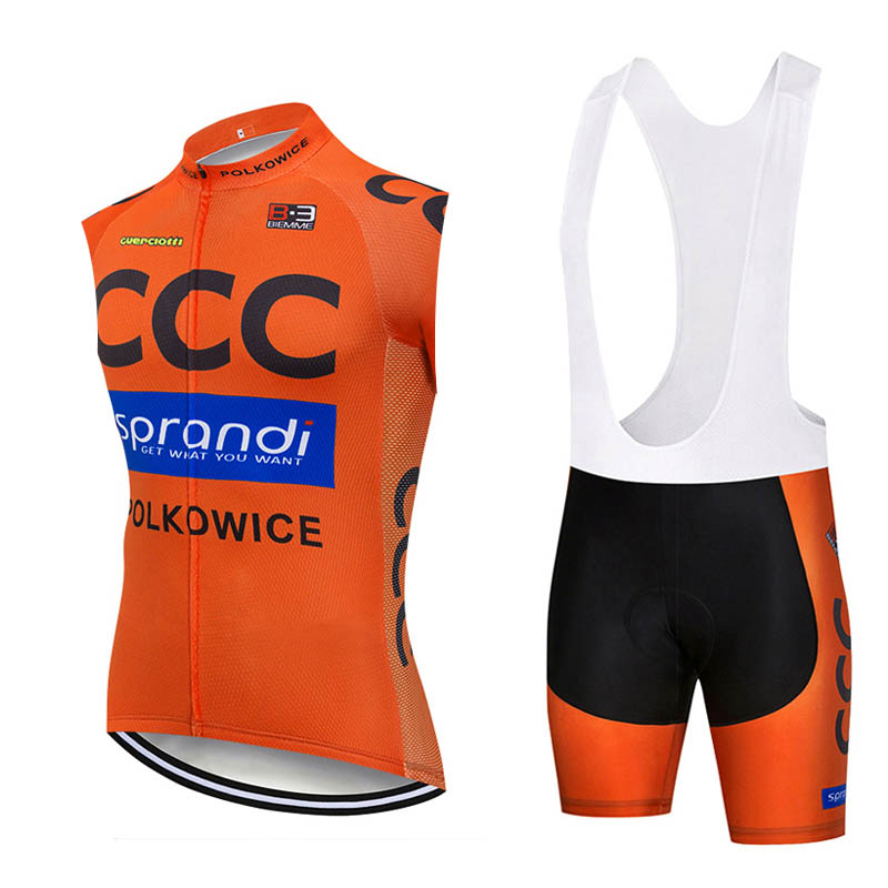 CCC team cycling Suit Mens Cycling Sleeveless jersey Vest bib shorts sets MTB bike Uniform Bicycle Outfits Road Racing Kits S21020109