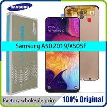 """100% Super AMOLED 6.4 """"LCD สำหรับ Samsung galaxy A50 2019 A505F/DS A505F A505FD A505A Touch Screen Digitizer ประกอบกับกรอบ"""