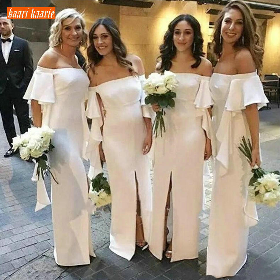Trendy Ivory Long Bridesmaid Dresses Satin Short Sleeve Off Shoulder Maid Of Honor Dress Front Split Ruffles Wedding Party Gowns