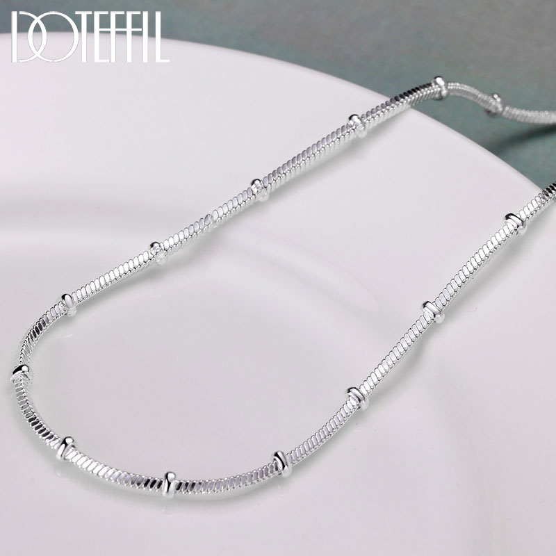 DOTEFFIL 925 Sterling Silver 18/20 Inch 1.2/2mm Snake Chain Beads Necklace For Women Man Fashion Wedding Engagement Jewelry