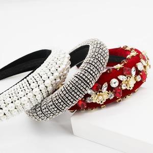 Image 1 - Nouveau Baroque européen et américain industrie lourde mode sauvage strass perle métal fleur tempérament luxe bandeau 885