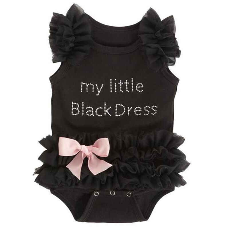 Newborn Kids Baby Girl Infant  Fashion Embroidered Lace My Little Black letter Jumpsuit Bodysuit Clothes Tutu Dress Outfit