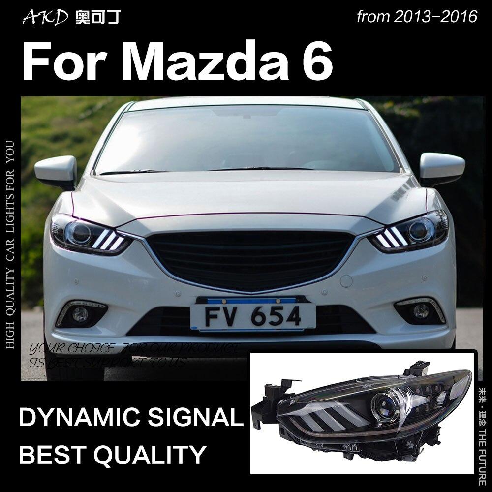 AKD estilo de coche para Mazda 6 Atenza faro LED de 2013-2017 Mustang diseño LED DRL escondió la cabeza de la lámpara Ojo de Ángel Bi Xenon Accesorios