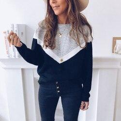 Женские повседневные свободные свитера с круглым вырезом и длинными рукавами, модные уличные топы, Осень-зима 2020