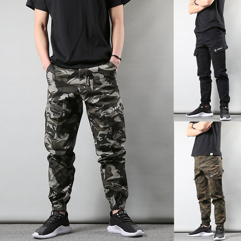 Fashion Streetwear Men Jeans Loose Fit Camouflage Casual Cargo Pants Harem Trousers Military Style Hip Hop Jogger Pants Men