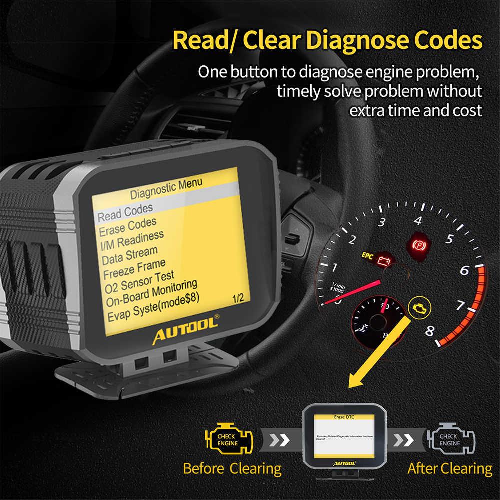 Autool x80 자동차 엔진 코드 리더 hud compute obd2 헤드 최대 디스플레이 2 1 자동차 진단 도구 전체 obdii eobd 스캐너